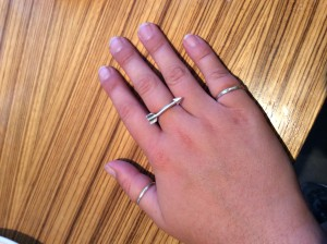Gracie's cool silver arrow ring.