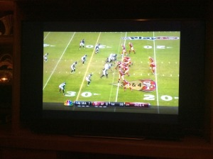 Football on the TV afterward with the Seattle Seahawks beating the. San Francisco 49'ers decisively.  Delicious.
