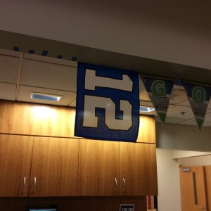 Twelfth Man flag in the waiting room at the hospital.