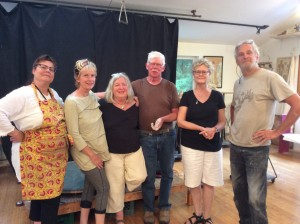 From left to right :  Heather, Jennifer, My Rebecca, Felipe, Sherrie and Michael Magrath at his studio.