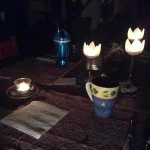 Candles lit.