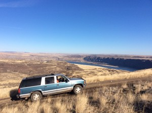 Aldo, our intrepid truck with the Columbia River in the distance.