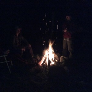 The fire on The Solstice in the dark.  It's a month later and noticeably lighter at both ends of the day.  Yah!!