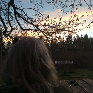 Rebecca checking out the sunset at the ranch last night.